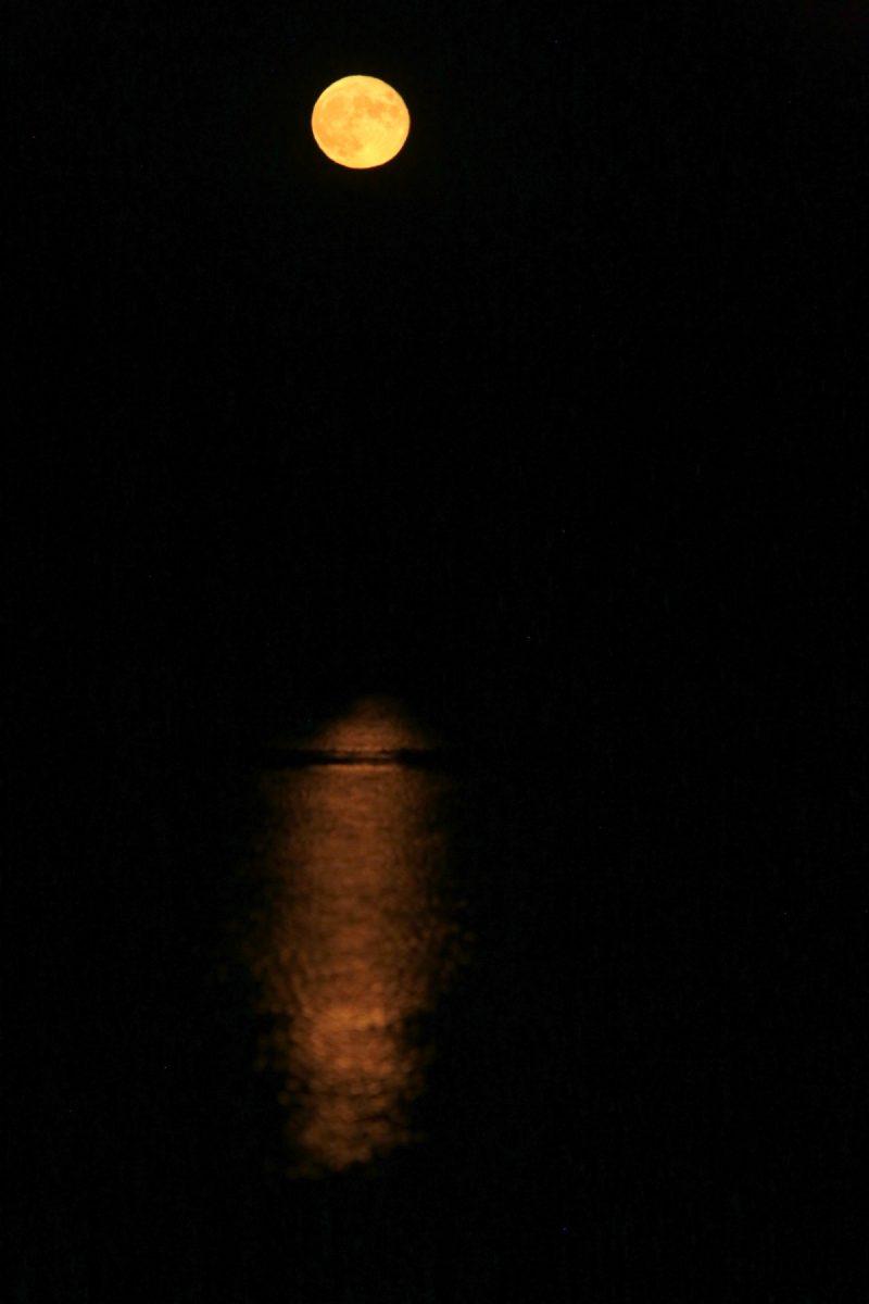 Pleine lune sur le Rhône - Full moon on the Rhone